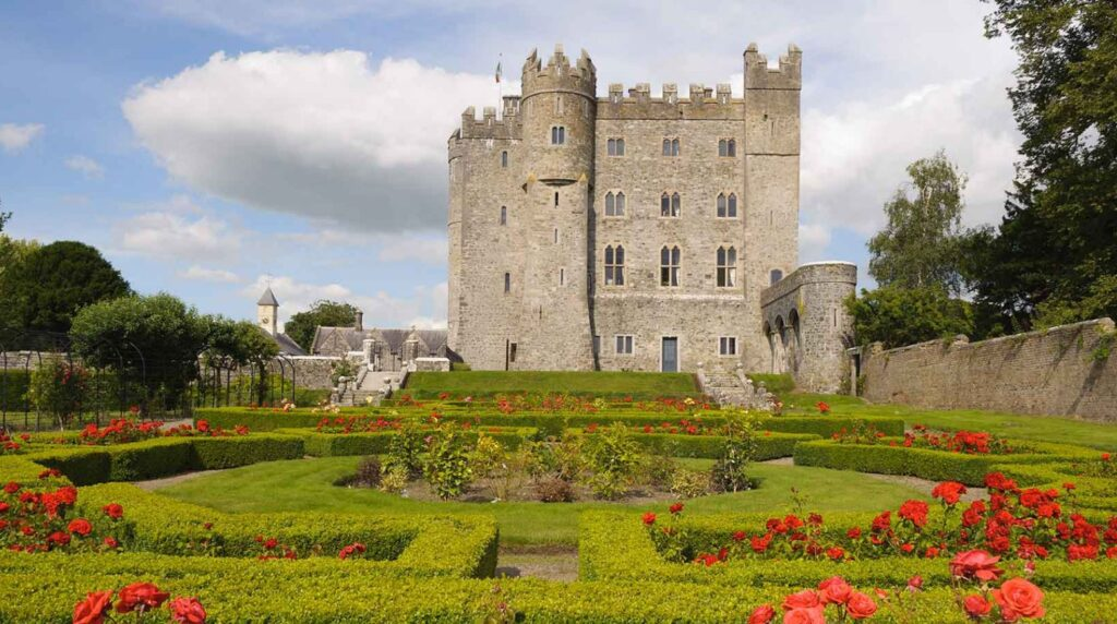 rose gardens with kilkea castle in background close to Dublin Ireland