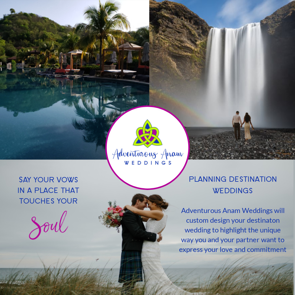 destination wedding planner logo with pictures of couple by waterfall and pool in costa rica