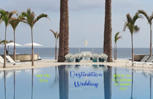 wedding ceremony set up by pool between two palm trees ocean in the background in los cabos mexico