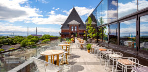 rooftop at Braodview hotel in Toronto with patio seating